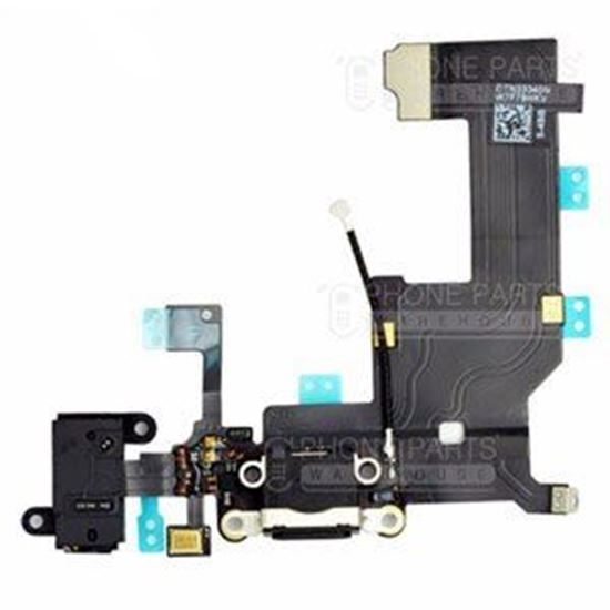 Picture of iPhone 5 Compatible Charging System Connector with flex and earphone flex socket (Black)