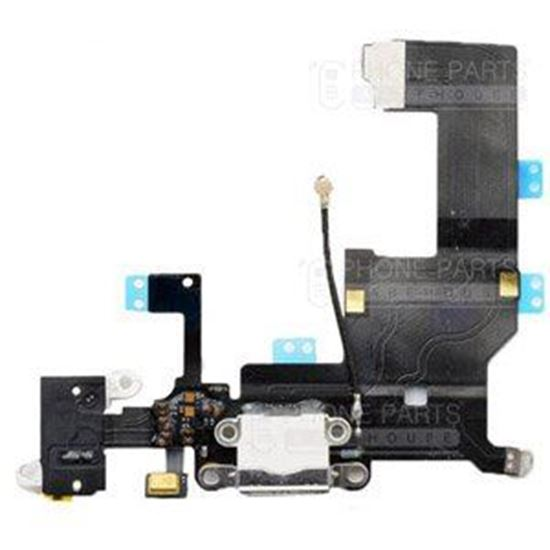 Picture of iPhone 5 Compatible Charging System Connector with flex and earphone flex socket (White)