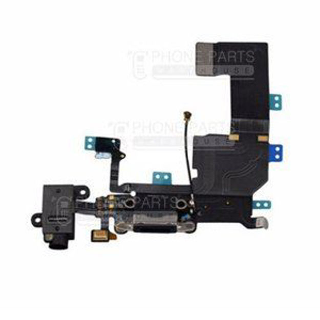 Picture of iPhone 5C OEM Charging System Connector with flex and earphone flex socket (Black)