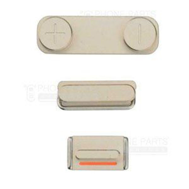 Picture of iPhone 5S Compatible 3 Piece Button Set Gold