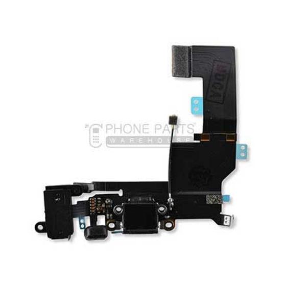 Picture of iPhone SE Original Charging Port Flex With Headphone Jack [Genuine] [Black]
