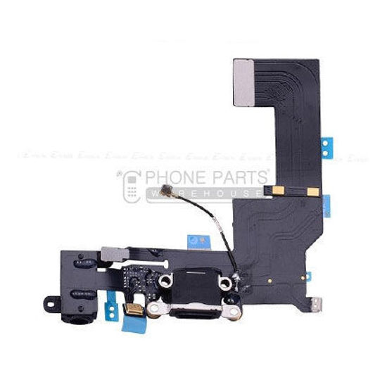 Picture of iPhone 5s OEM Charging System Connector with flex and earphone flex socket (Black)