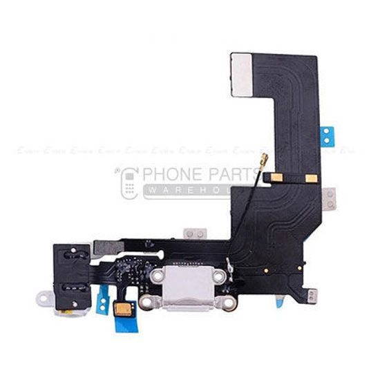 Picture of iPhone 5s OEM Charging System Connector with flex and earphone flex socket (White)