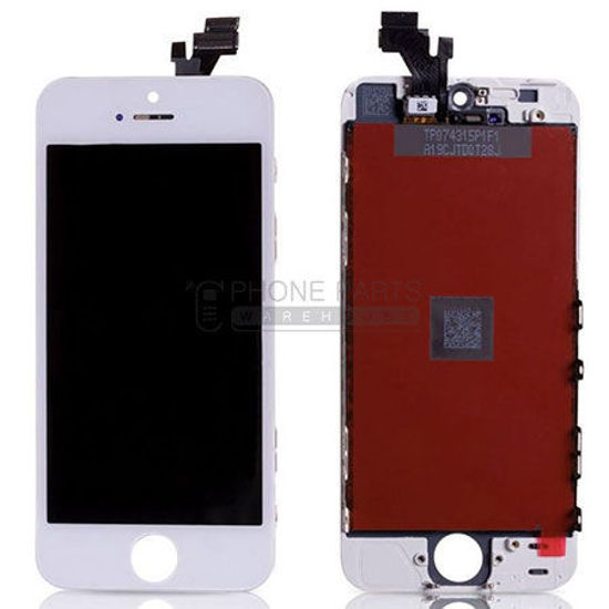 Picture of iPhone 5 Compatible LCD Screen Assembly White (Refurbished Grade-A)